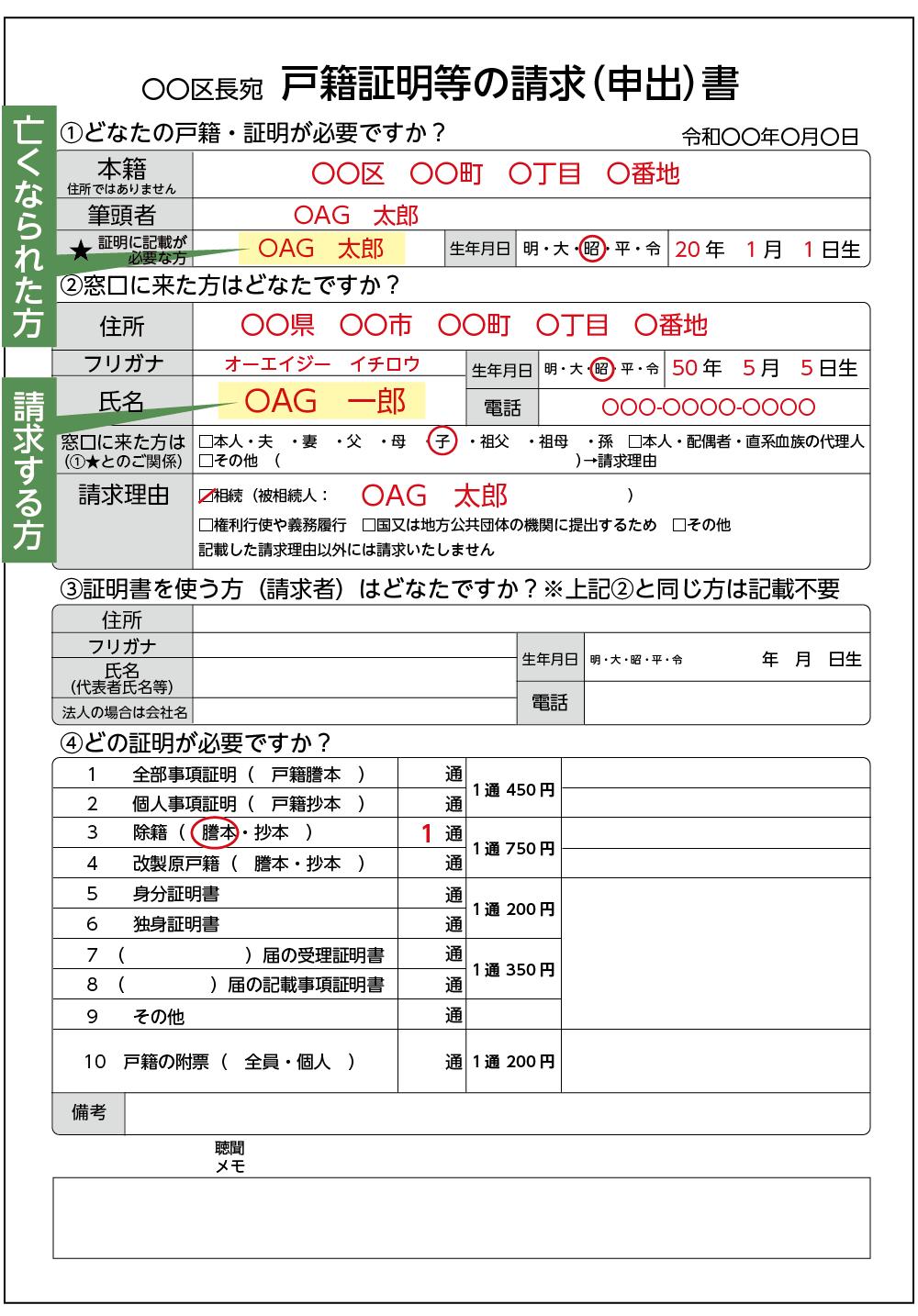 請求用紙の記入例