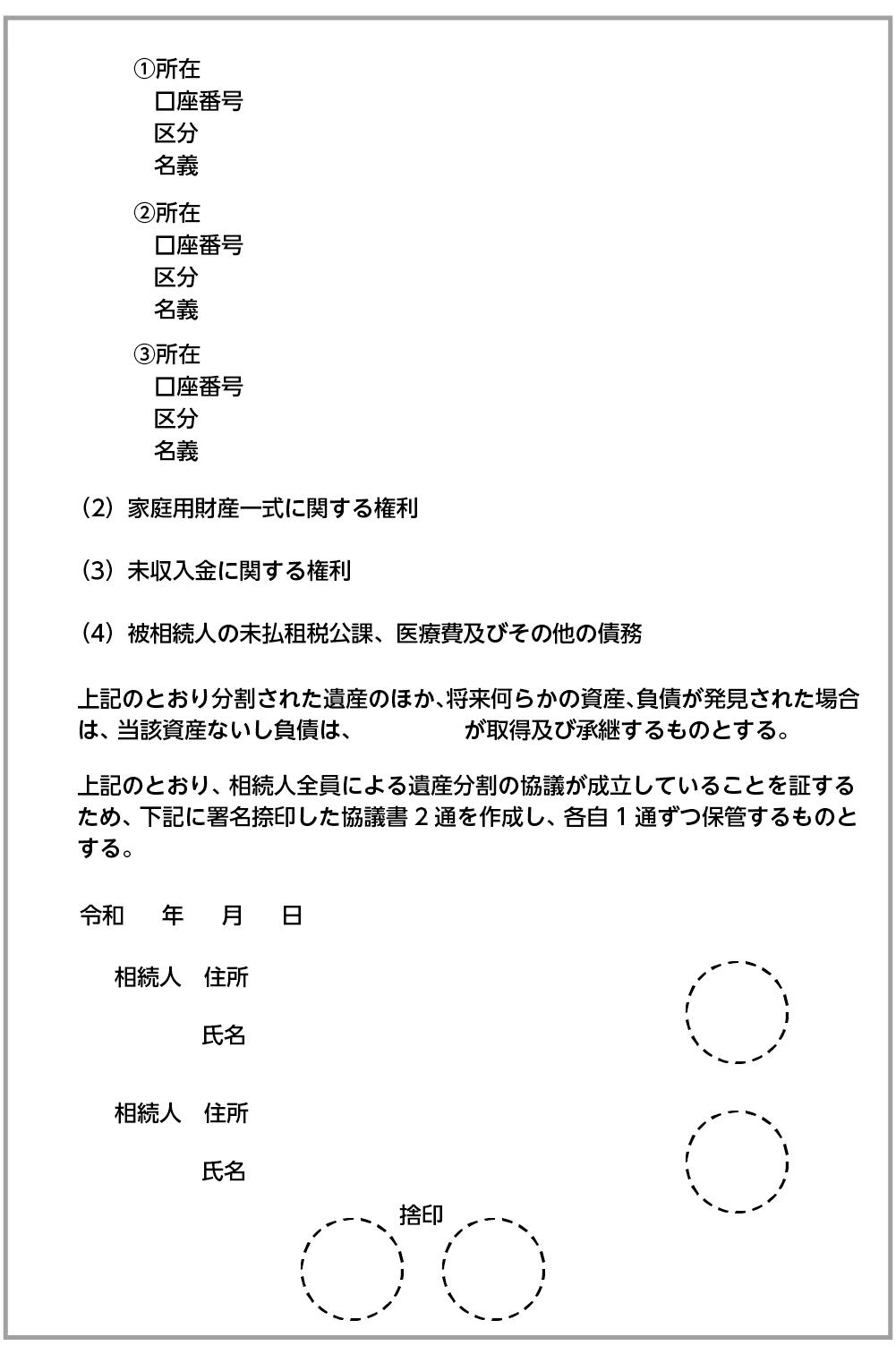 遺産分割協議書の基本のひな形2